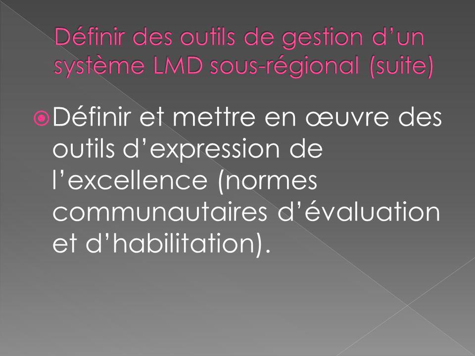 Définir des outils de gestion d'un système LMD sous-régional (suite)