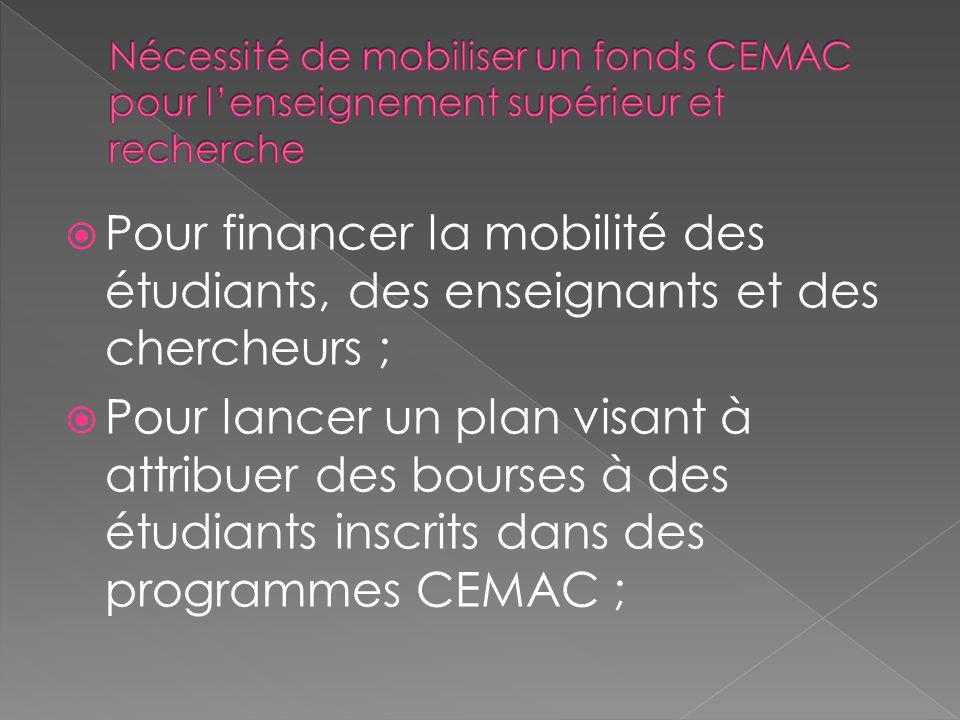 Nécessité de mobiliser un fonds CEMAC pour l'enseignement supérieur et recherche
