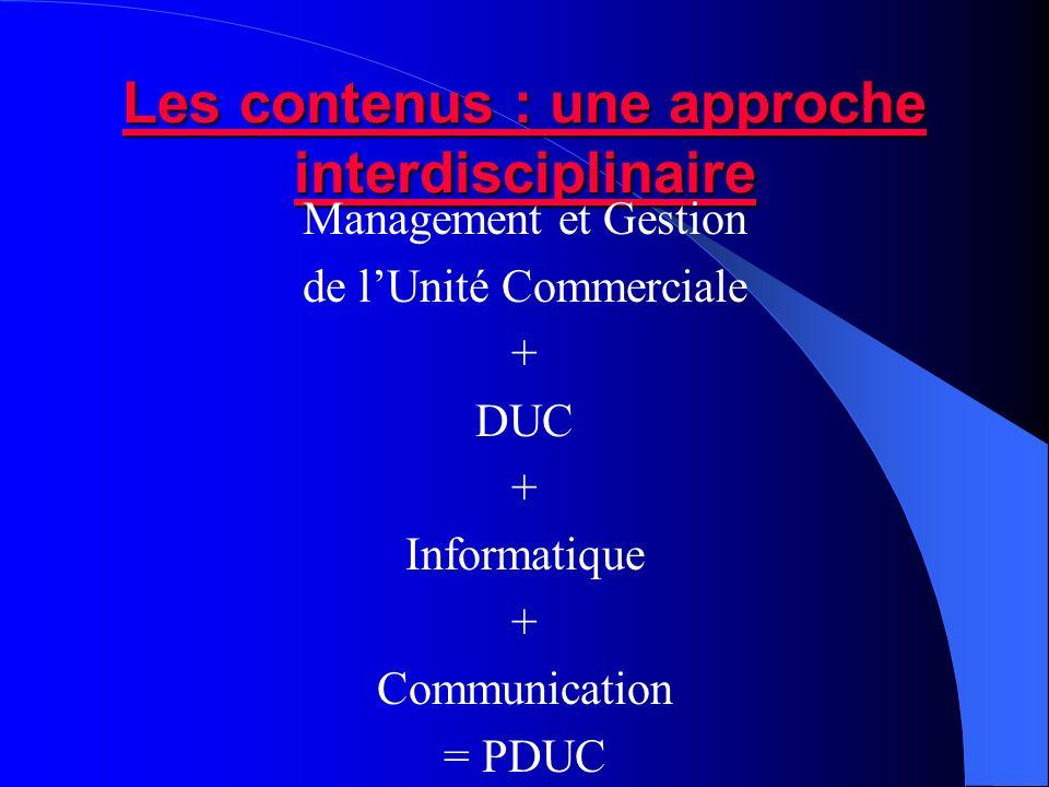 Les contenus : une approche interdisciplinaire