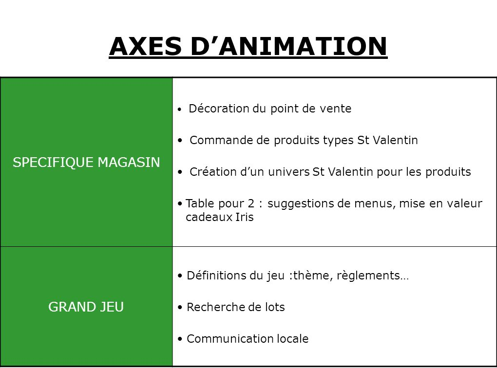 AXES D'ANIMATION SPECIFIQUE MAGASIN GRAND JEU