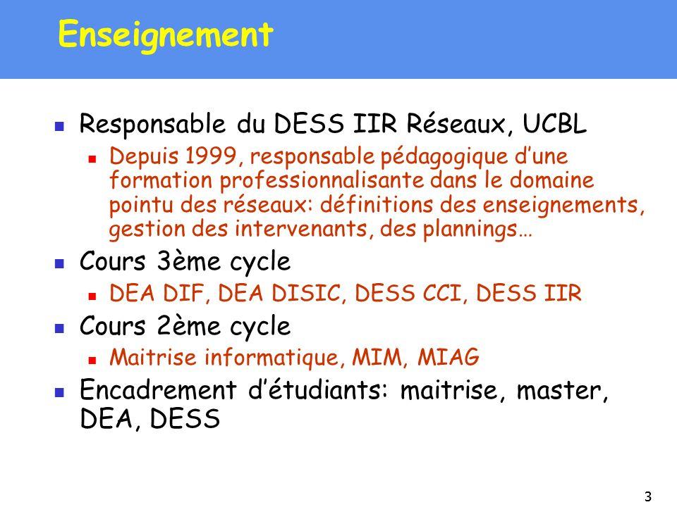Enseignement Responsable du DESS IIR Réseaux, UCBL Cours 3ème cycle