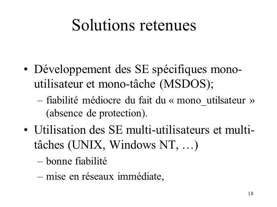 Solutions retenues Développement des SE spécifiques mono-utilisateur et mono-tâche (MSDOS);