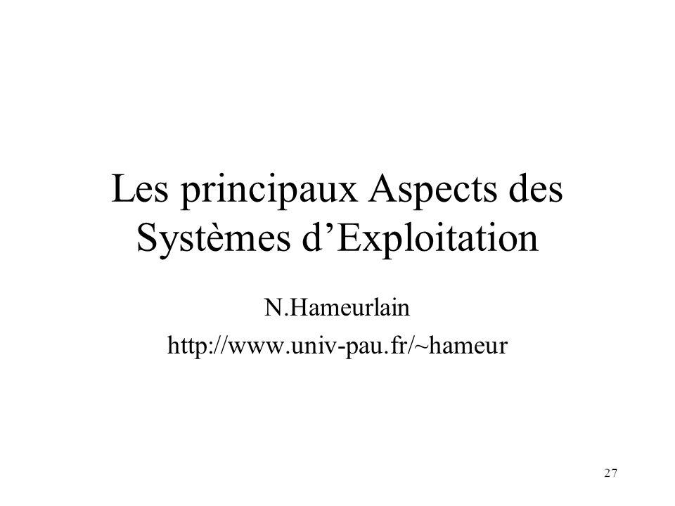 Les principaux Aspects des Systèmes d'Exploitation