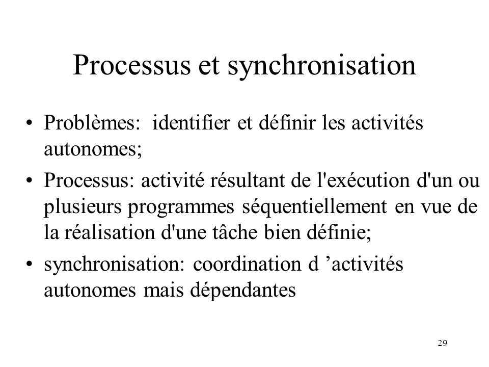 Processus et synchronisation