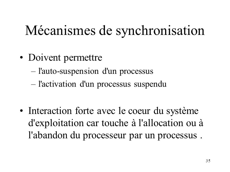 Mécanismes de synchronisation