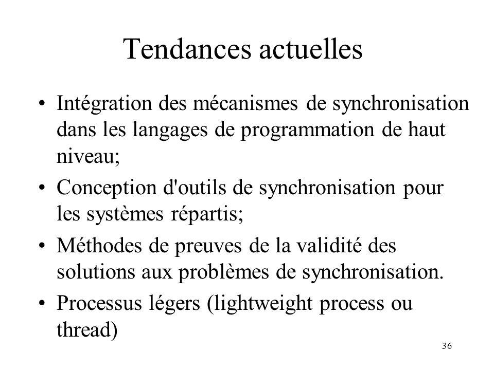 Tendances actuelles Intégration des mécanismes de synchronisation dans les langages de programmation de haut niveau;