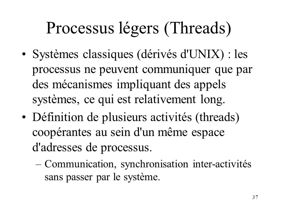 Processus légers (Threads)