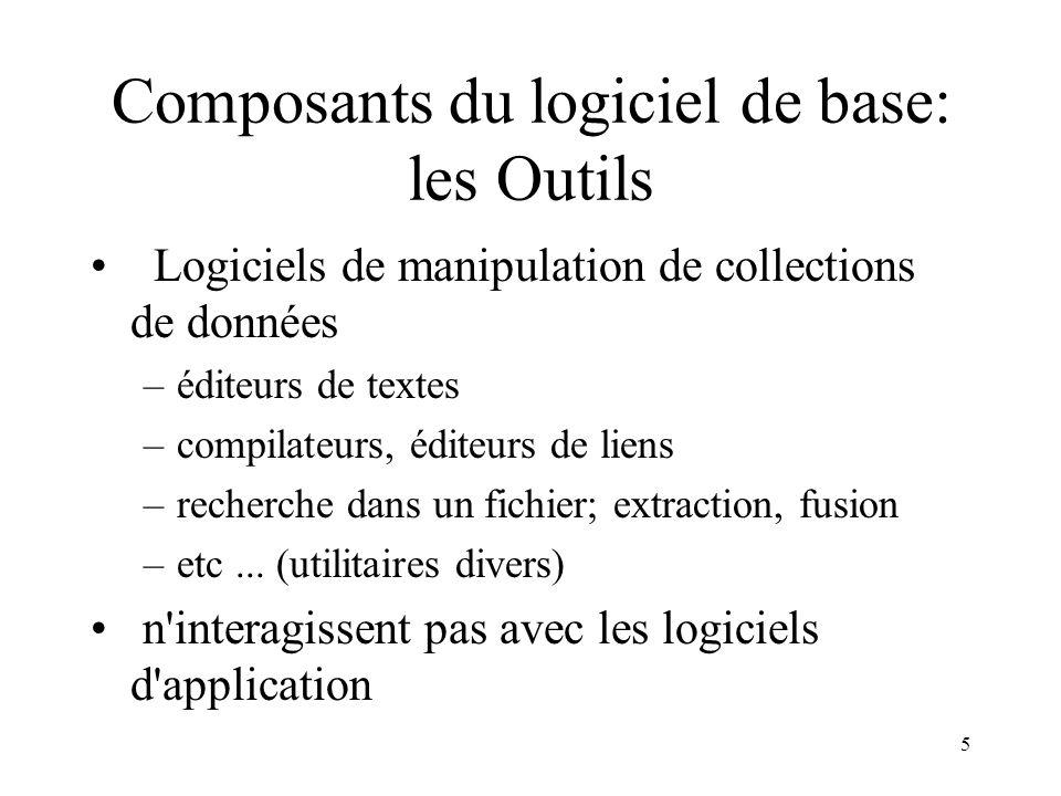 Composants du logiciel de base: les Outils