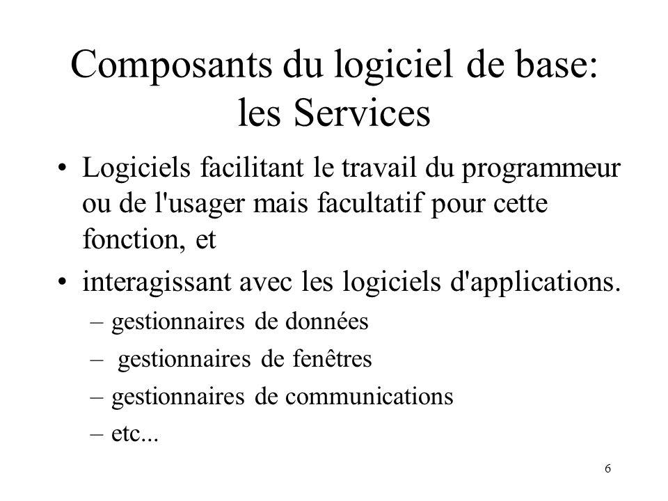 Composants du logiciel de base: les Services
