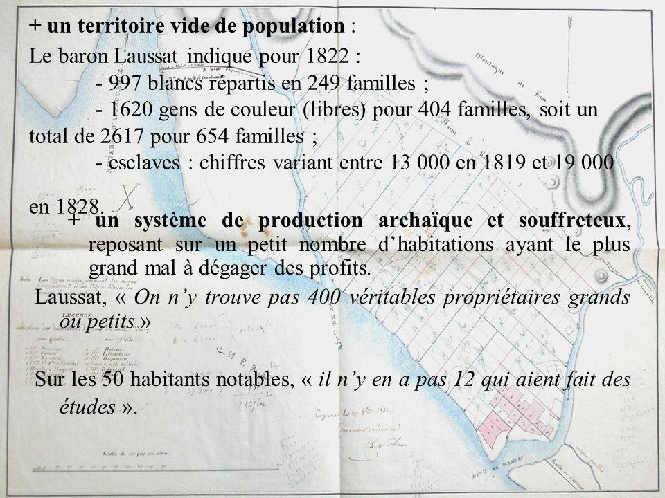 + un territoire vide de population : Le baron Laussat indique pour 1822 : - 997 blancs répartis en 249 familles ; - 1620 gens de couleur (libres) pour 404 familles, soit un total de 2617 pour 654 familles ; - esclaves : chiffres variant entre 13 000 en 1819 et 19 000 en 1828.
