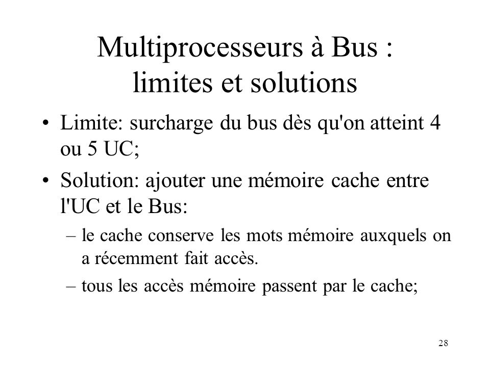 Multiprocesseurs à Bus : limites et solutions