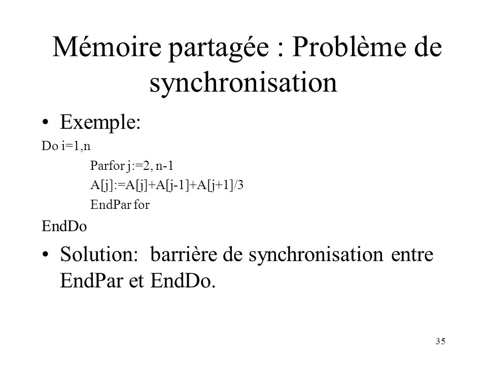 Mémoire partagée : Problème de synchronisation