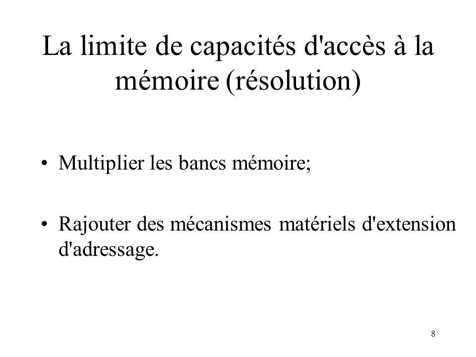 La limite de capacités d accès à la mémoire (résolution)