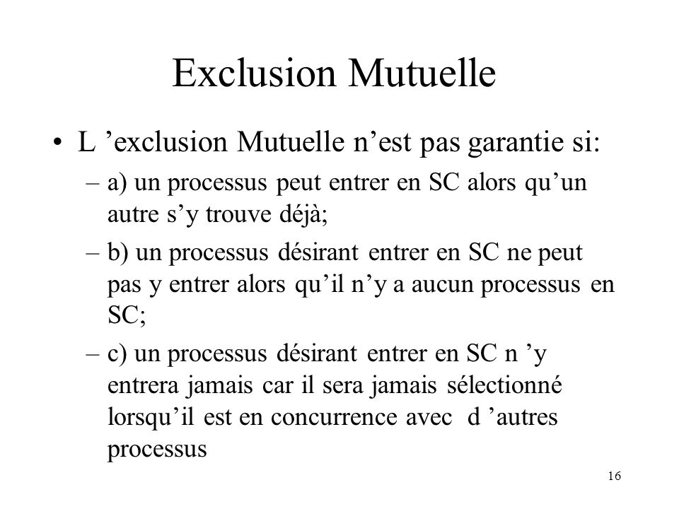 Exclusion Mutuelle L 'exclusion Mutuelle n'est pas garantie si: