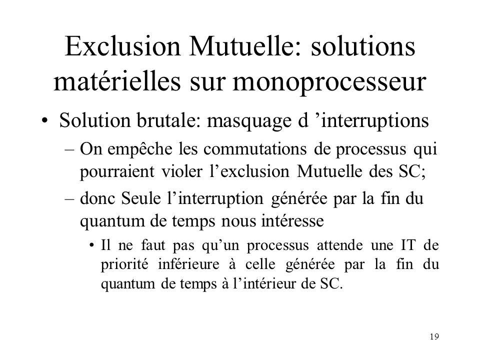 Exclusion Mutuelle: solutions matérielles sur monoprocesseur