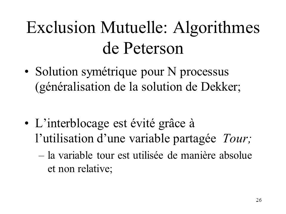 Exclusion Mutuelle: Algorithmes de Peterson