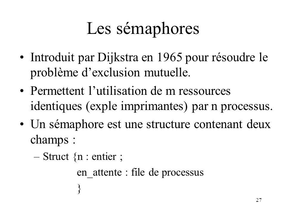 Les sémaphores Introduit par Dijkstra en 1965 pour résoudre le problème d'exclusion mutuelle.