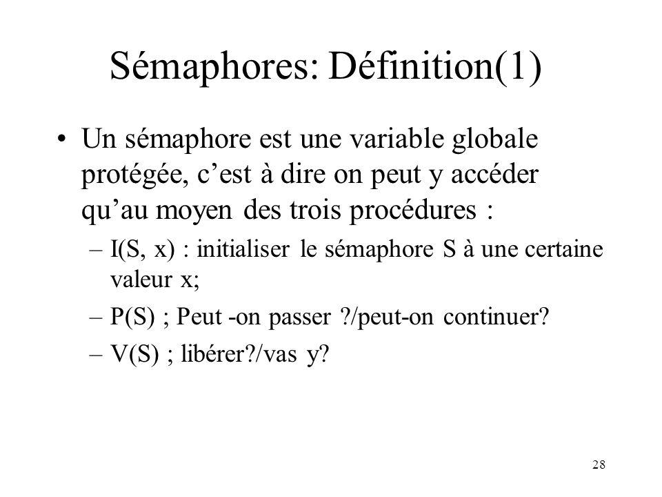 Sémaphores: Définition(1)