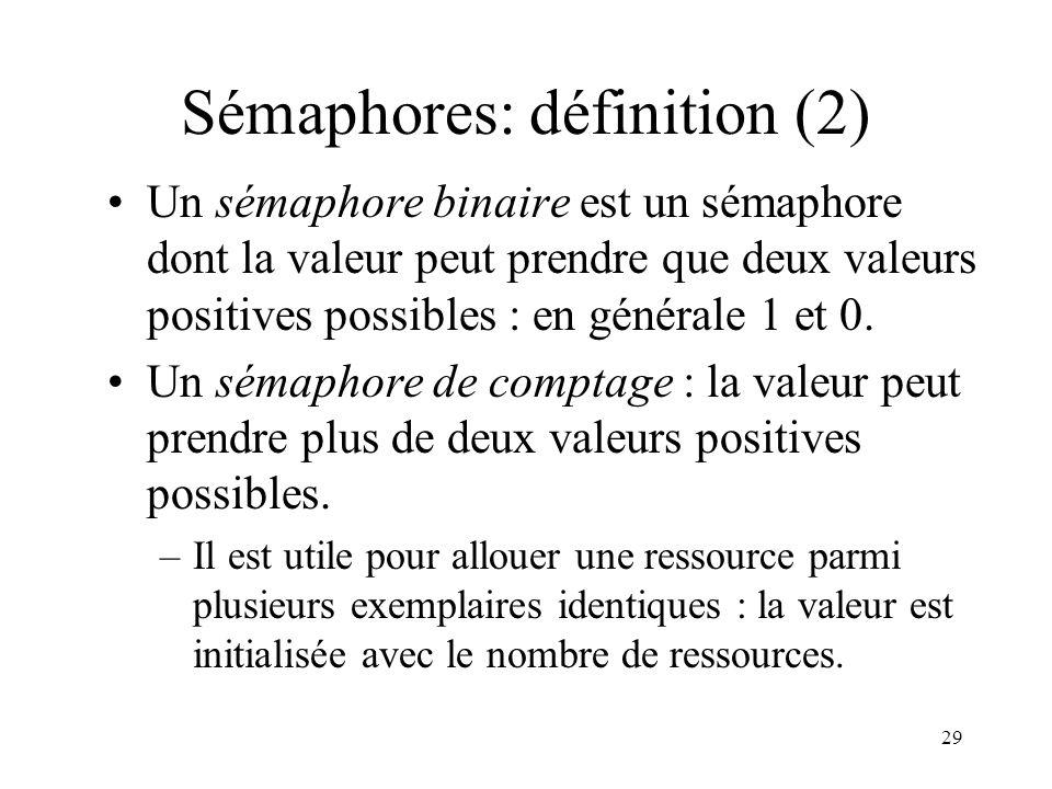 Sémaphores: définition (2)
