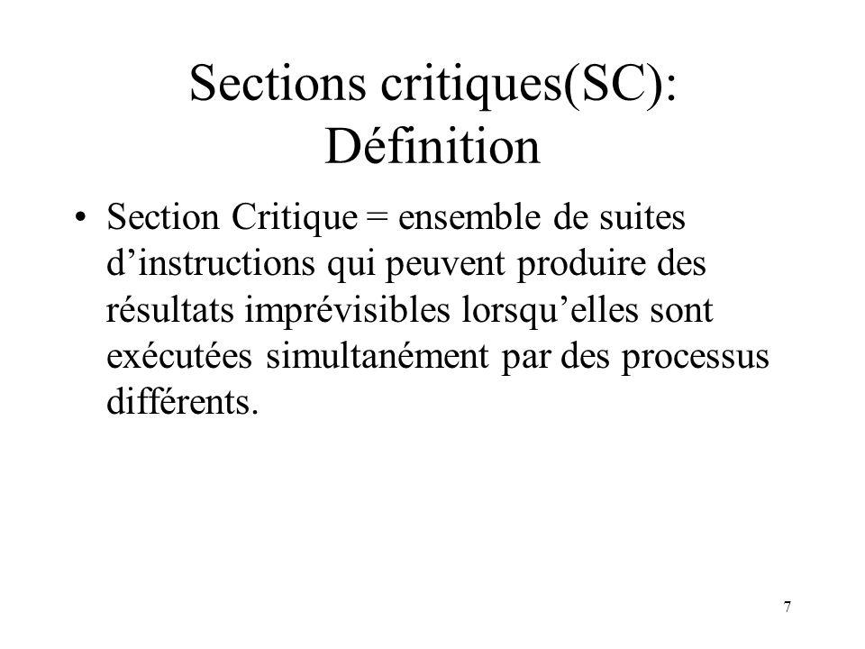Sections critiques(SC): Définition