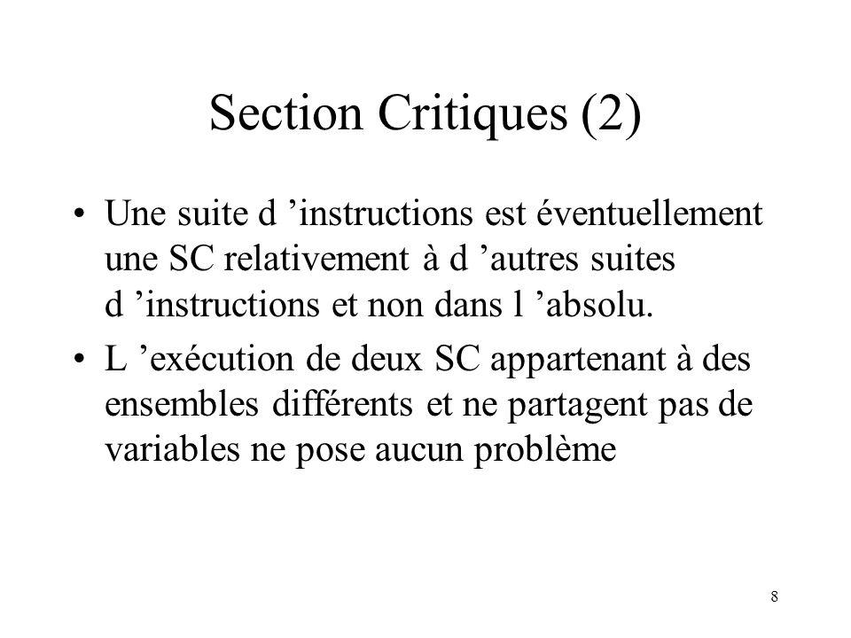 Section Critiques (2) Une suite d 'instructions est éventuellement une SC relativement à d 'autres suites d 'instructions et non dans l 'absolu.