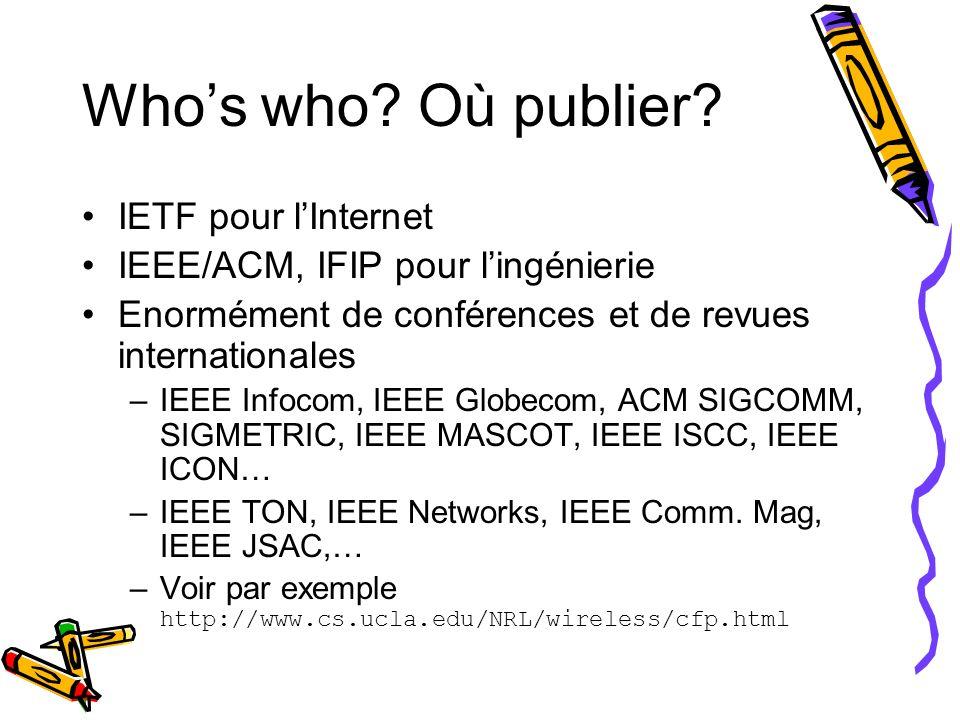 Who's who Où publier IETF pour l'Internet