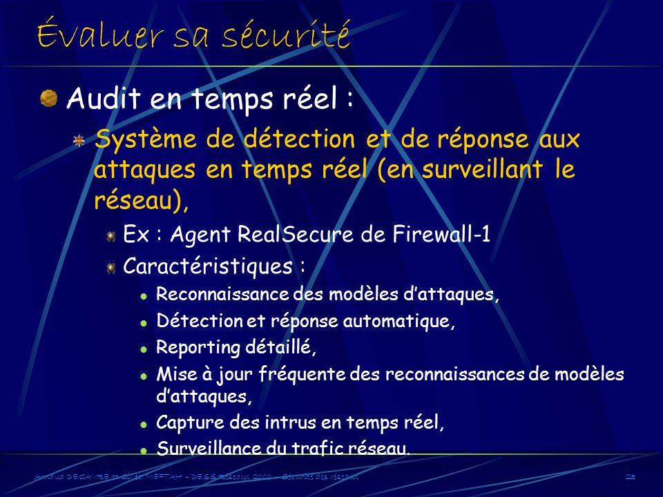 Évaluer sa sécurité Audit en temps réel :