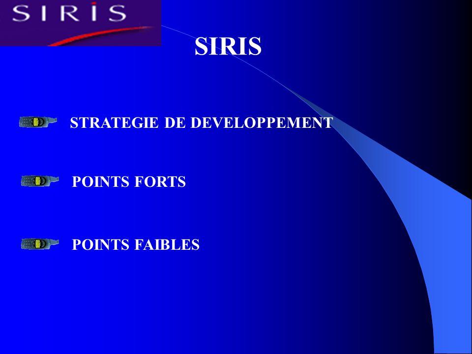 SIRIS STRATEGIE DE DEVELOPPEMENT POINTS FORTS POINTS FAIBLES