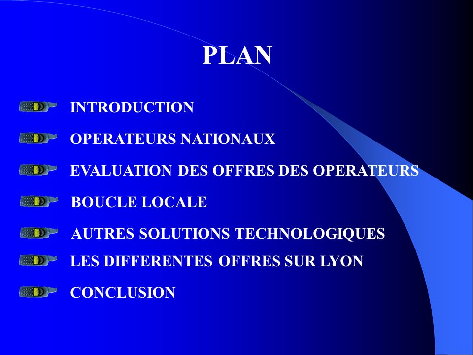 PLAN INTRODUCTION OPERATEURS NATIONAUX