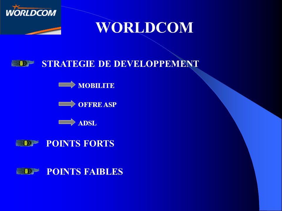WORLDCOM STRATEGIE DE DEVELOPPEMENT POINTS FORTS POINTS FAIBLES