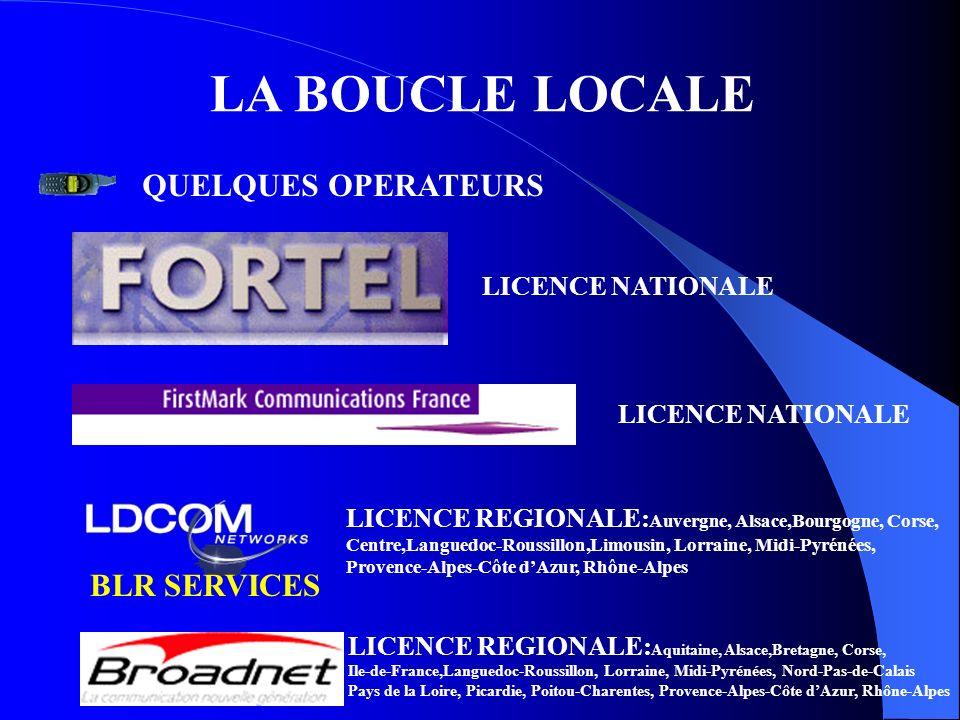 LA BOUCLE LOCALE QUELQUES OPERATEURS BLR SERVICES LICENCE NATIONALE