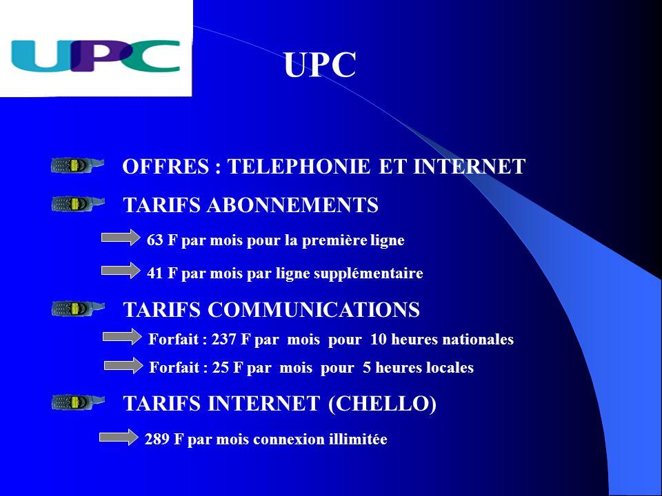 UPC OFFRES : TELEPHONIE ET INTERNET TARIFS ABONNEMENTS