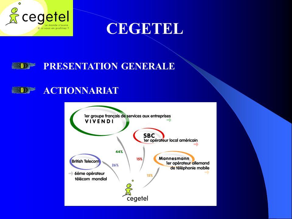 CEGETEL PRESENTATION GENERALE ACTIONNARIAT