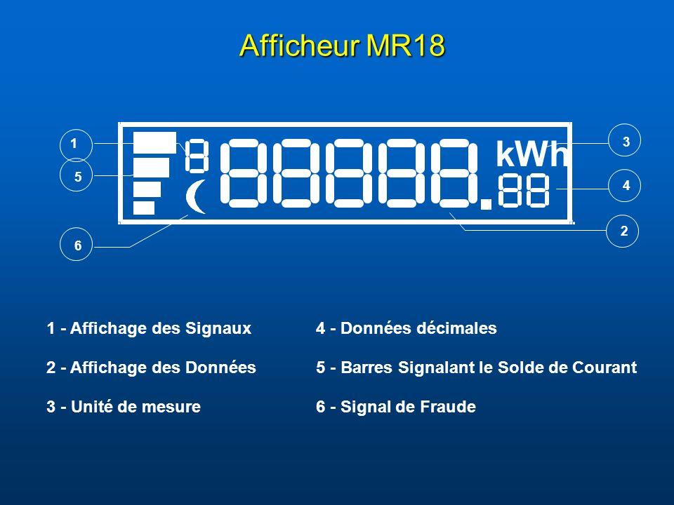 k W h Afficheur MR18 1 - Affichage des Signaux 4 - Données décimales