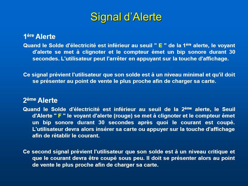 Signal d'Alerte 1ère Alerte 2ème Alerte