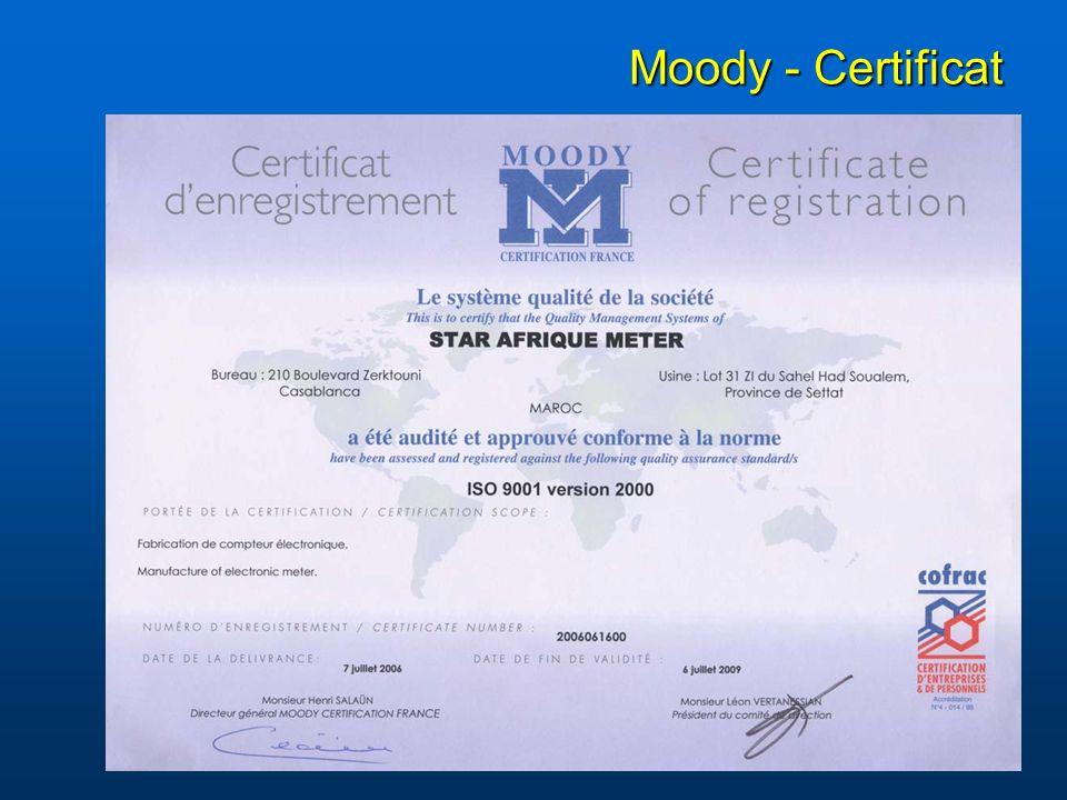 Moody - Certificat