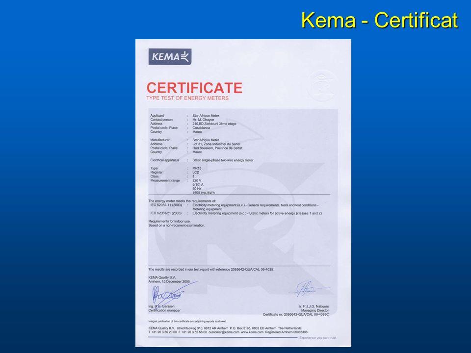 Kema - Certificat