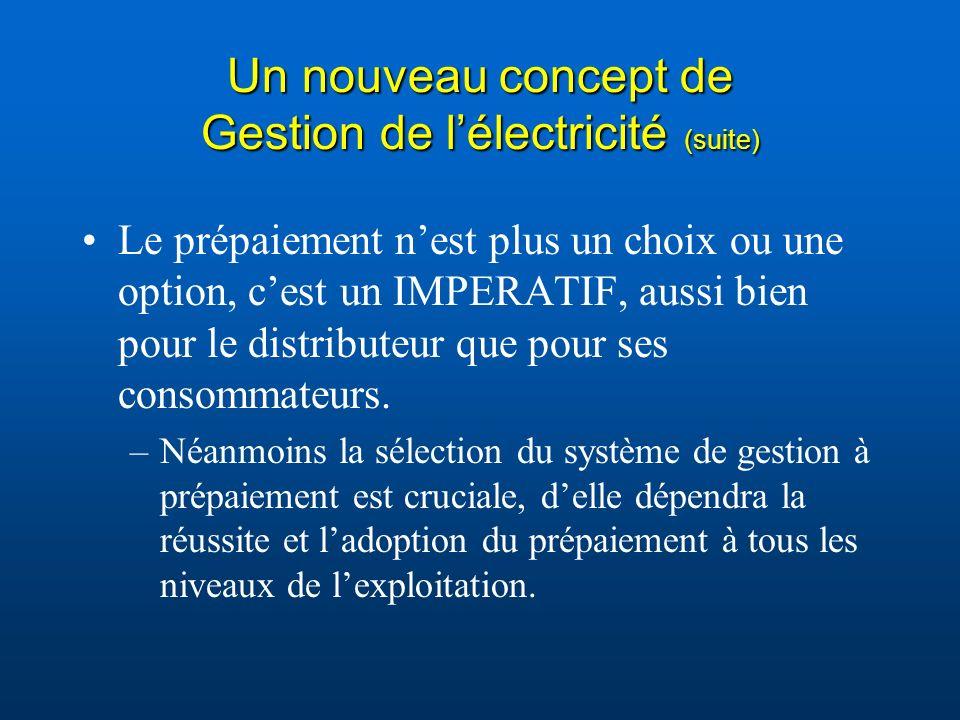 Un nouveau concept de Gestion de l'électricité (suite)