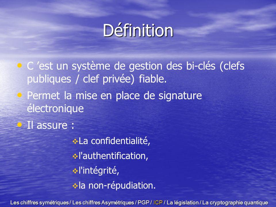 DéfinitionC 'est un système de gestion des bi-clés (clefs publiques / clef privée) fiable. Permet la mise en place de signature électronique.