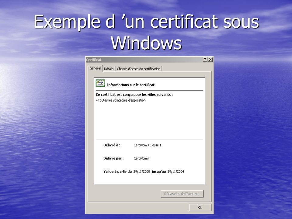 Exemple d 'un certificat sous Windows