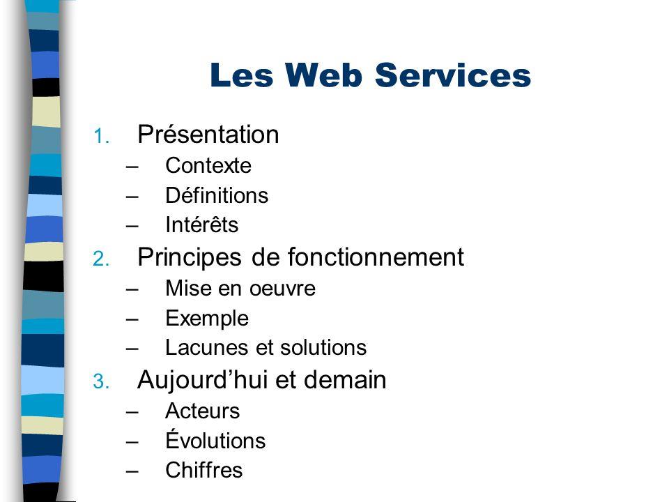 Les Web Services Présentation Principes de fonctionnement