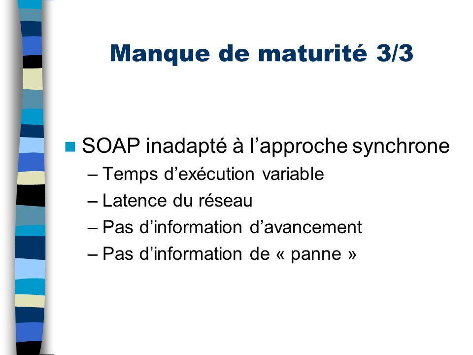 Manque de maturité 3/3 SOAP inadapté à l'approche synchrone