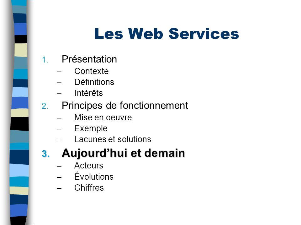 Les Web Services Aujourd'hui et demain Présentation