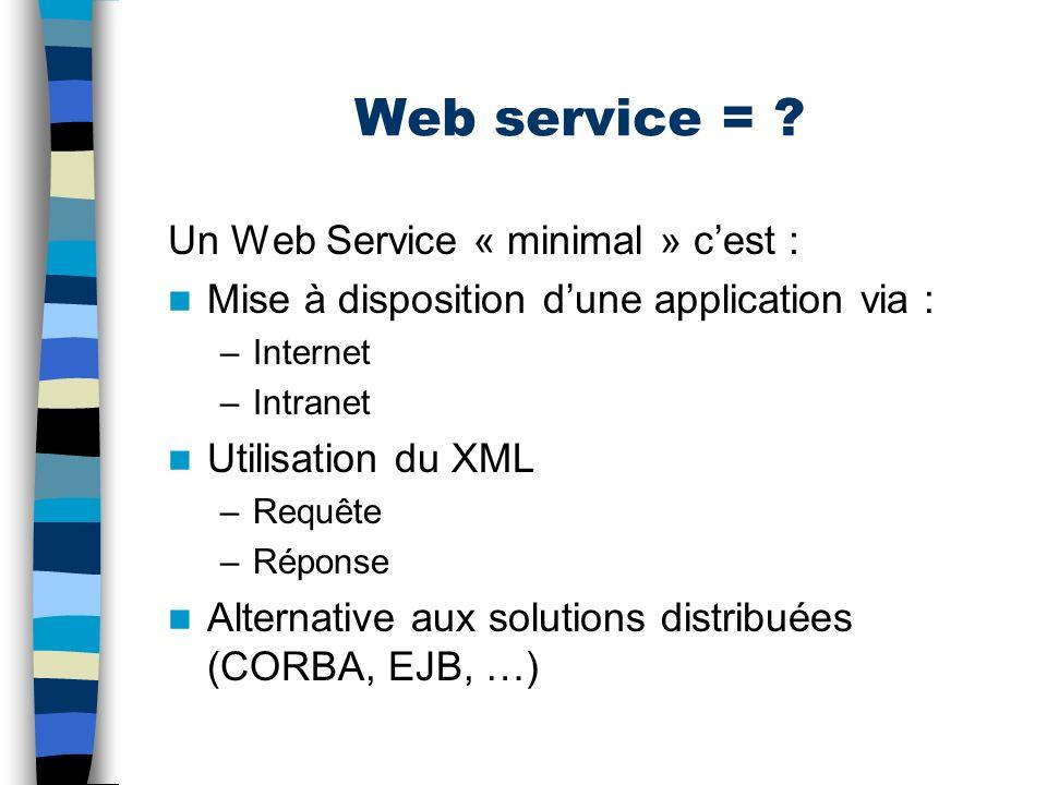 Web service = Un Web Service « minimal » c'est :