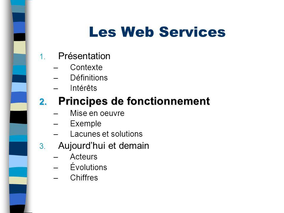 Les Web Services Principes de fonctionnement Présentation