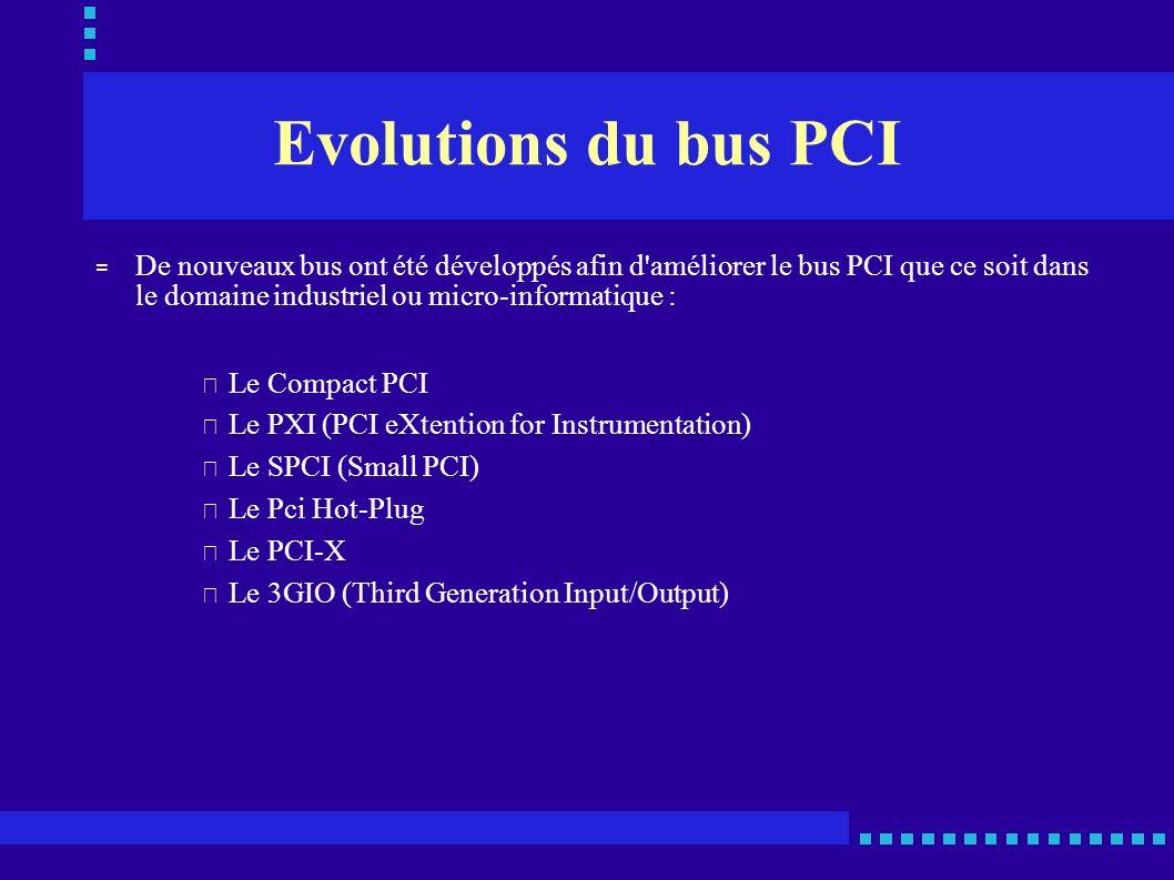 Evolutions du bus PCI De nouveaux bus ont été développés afin d améliorer le bus PCI que ce soit dans le domaine industriel ou micro-informatique :