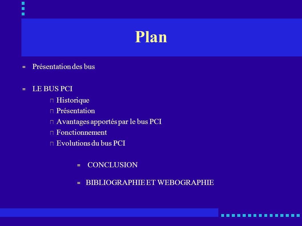 Plan Présentation des bus LE BUS PCI Historique Présentation