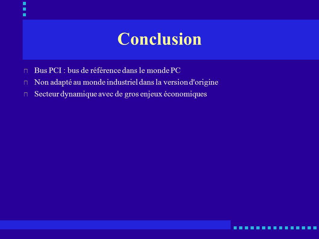 Conclusion Bus PCI : bus de référence dans le monde PC