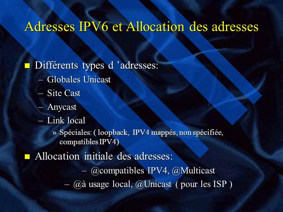 Adresses IPV6 et Allocation des adresses