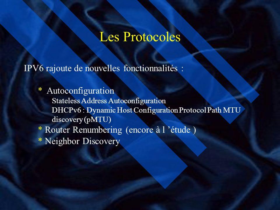 Les Protocoles IPV6 rajoute de nouvelles fonctionnalités :